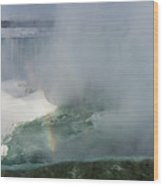Milky Mist And Double Rainbows - Glorious Niagara Falls Wood Print