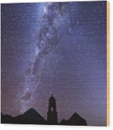 Milky Way Above Ruined Church Tower Wood Print