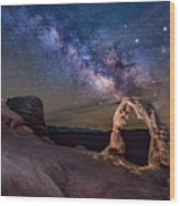 Milky Way And Delicate Arch Wood Print