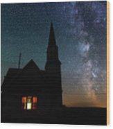 Milky Way And Old Church Wood Print