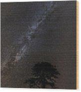 Milky Way And Tree Wood Print