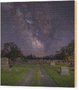 Milky Way Cemetery Wood Print