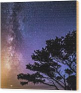 Milky Way In Newport, Or Wood Print