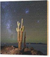 Milky Way Magellanic Clouds And Giant Cactus Incahuasi Island Bolivia Wood Print
