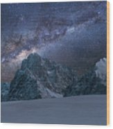 Milky Way On Italian Dolomites Wood Print