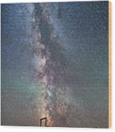Milky Way Over An Old Ranch Corral Wood Print