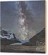 Milky Way Over Athabasca Glacier Wood Print