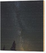 Milky Way Over Bay Of Gaspe Wood Print