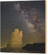 Milky Way Over Castle Rock Wood Print