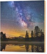 Milky Way Over Coffin Pond  Wood Print