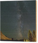 Milky Way Over Farmland In Central Oregon Wood Print