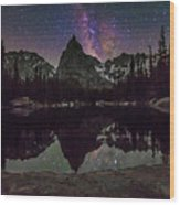 Milky Way Over Lone Eagle Peak And Mirror Lake Wood Print
