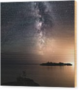 Milky Way Over Mary Island From Silver Harbour Near Thunder Bay Wood Print