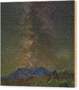 Milky Way Over Mount St Helens Wood Print