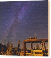 Milky Way Over Old Corral Wood Print