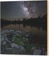 Milky Way Over Pass Lake Wood Print