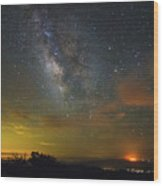 Milky Way Over Tenderfoot Fire Wood Print
