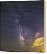 Milky Way Over The Boardwalk Wood Print