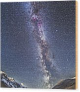 Milky Way Over The Columbia Icefields Wood Print