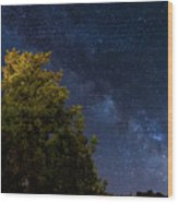 Milky Way Over The Forest At The Troodos Mountains In Cyprus. Wood Print