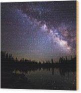 Milky Way Over The Lake Wood Print