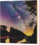 Milky Way Over The Saco River Maine  Wood Print