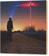 Milky Way Over The Wind Turbine Wood Print