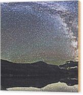 Milky Way Panorama At Cameron Lake Wood Print