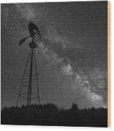 Milky Way Windmill Bw Wood Print