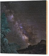 Milkyway At The Mountains Wood Print