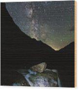 Milkyway Over Haystack Wood Print