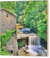 Mill Creek Park Lanterman's Mill And Covered Bridge Wood Print