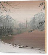 Mill Pond Snow Wood Print
