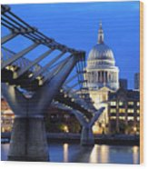Millennium Bridge And St Pauls Cathedral Wood Print