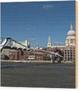 Millennium Bridge And St Pauls Wood Print