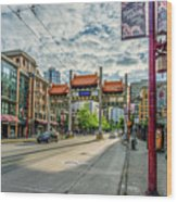Millennium Gate In Vancouver Chinatown, Canada Wood Print