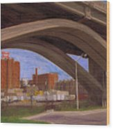 Miller Brewery Viewed Under Bridge Wood Print