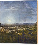 Millet: Sheep By Moonlight Wood Print