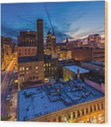 Milwaukee Evening Glimmer Wood Print