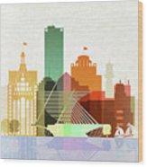 Milwaukee Skyline Color Wood Print