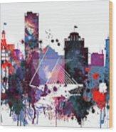 Milwaukee Watercolor Skyline Wood Print