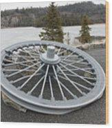 Mine Shaft Wheel Wood Print