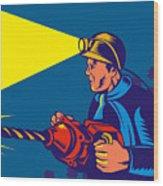Miner With Jack Drill Wood Print by Aloysius Patrimonio