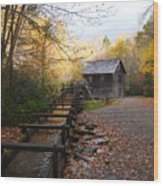 Mingus Mill Fall Color Great Smoky Mountains National Park Wood Print