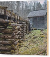Mingus Millrace And Mill In Late Winter Wood Print