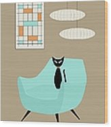Mini Abstract With Blue Chair Wood Print