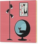 Shower Curtain Mini Atomic Cat On Pink  Wood Print
