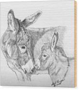 Mini Donkey Mom And Baby Wood Print