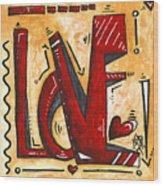 Mini Pop Art Gold Red Love Original Painting By Madart Wood Print