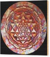 Mini Sri Yantra Kupfer Lichtmandala  Wood Print